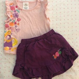 Disney Tangled skirt and shirt set size 2T